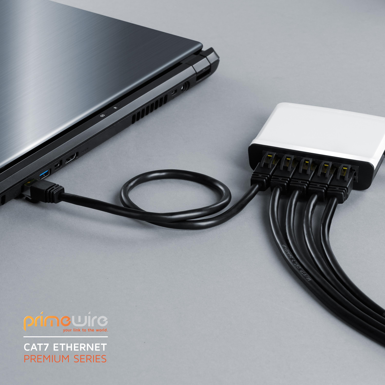 Primewire RJ45 0,25m CAT.7 Gigabit Ethernet Lan Netzwerkkabel CAT.6a Stecker