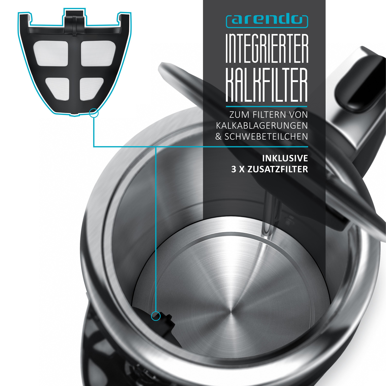 Arendo Turbo Wasserkocher mit Edelstahl Doppelwand Design1,7l3000 Watt